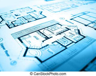 blueprint - a construction scheme of a modern house