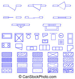 Blueprint symbols vector - Complete set of blueprint icons ...