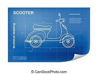 blueprint, técnico, scooter, wireframe, ilustração, desenho
