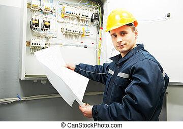 blueprint, trabalhador, eletricista, projeto, engenheiro