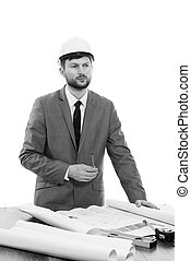 Blueprint, trabalhando, pensando, enquanto, arquiteta, maduras, macho