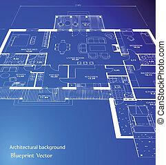 Vector of a blueprint plan illustration blue