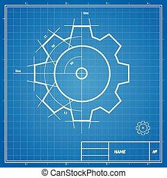 blueprint, vetorial, engrenagem, card.