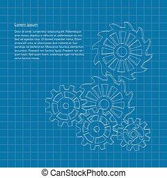 blueprint, vetorial, engrenagens, fundo, cogwheels, ou