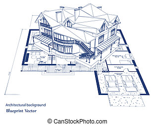 blueprint, vetorial, house., arquitetura