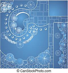 blueprint, vetorial, jardim, plano
