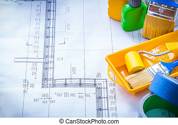 Blueprint with articles for painting and adhesive duct tapes...