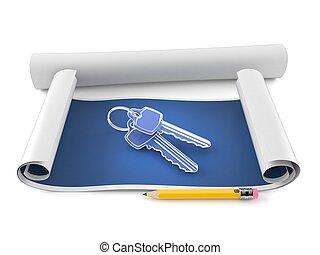 Blueprint with door keys