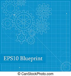 Blueprint with Drawn Gears