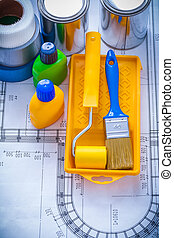 Blueprint with paint brush tray roller cans bottles and...