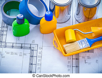Blueprint with tools for painting and adhesive duct tapes...