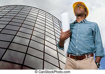 blueprints, строительство, работник