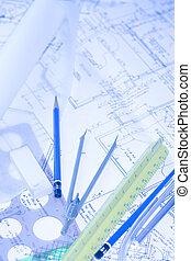 Blueprints 3 - architectural desk, house plans