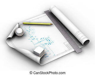 3D render of blueprints with pencil