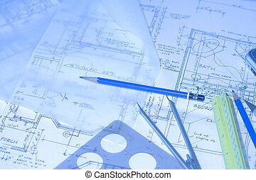 Blueprints 5 - house floor plans, architectural desk
