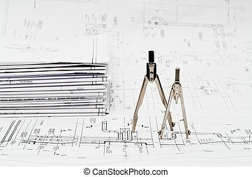 Blueprints and compasses
