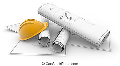 blueprints and hardhat isolated - blueprints rolled up and...