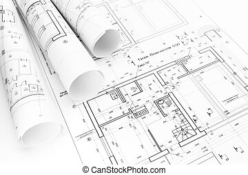 Rolled building plans blueprint floor plans with drawing picture architects workspace with rolled building plans and blueprints malvernweather