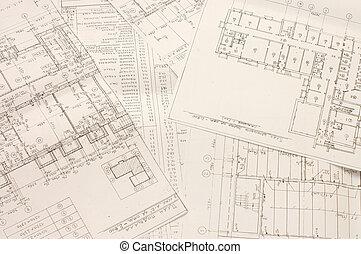 blueprints, arkitektoniske