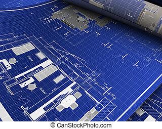 blueprints - abstract 3d illustration of blueprints...