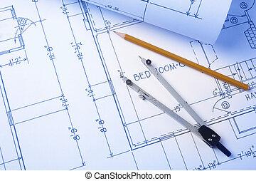 blueprints - construction concept, selective focus (all...