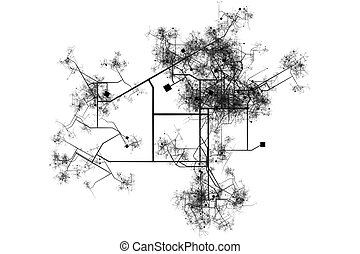 Blueprints Abstract of a City Background in Black and White