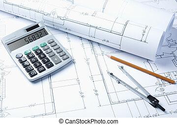 blueprints - construction industry concept, selective focus...