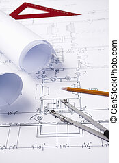 blueprints - all graphic elements are fake, toned, selective...