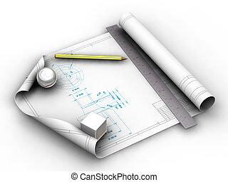 Blueprints - 3D render of blueprints with pencil