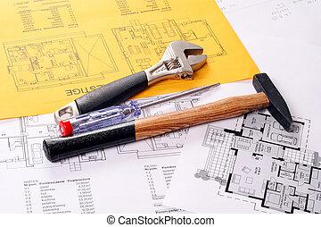 blueprints, hammer