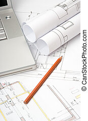 blueprints, i, arkitektur