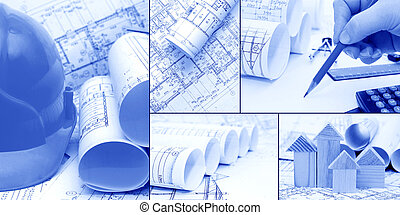 blueprints, konstruktion, -, collage, begreb