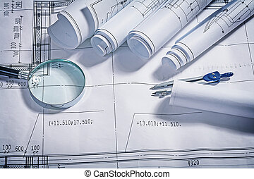 blueprints magnifer and compass close up