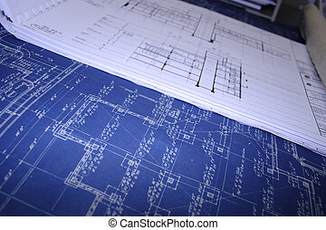 Old blueprints a stack of old railway design blueprints stock blueprints malvernweather Image collections