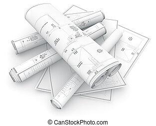 blueprints rolled up isolated on white background, 3d illustration