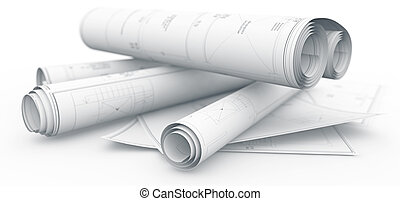 blueprints rolls isolated on white