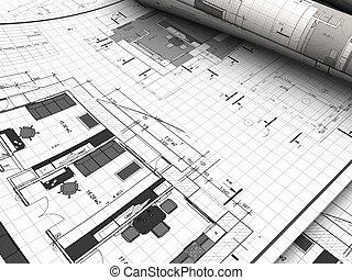 blueprints - 3d illustration of blueprints background
