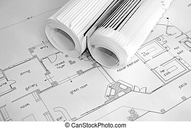 blueprints and rolled up prints