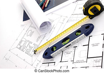 Blueprints, level and meter, House interior design, concept...