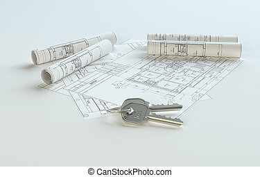 Blueprints with keys, copy space for your content