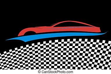blue/red, auto, symbool