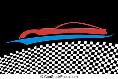 Blue/red car symbol, vector