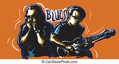 Blues - An image of two bluesmen. One plays the harmonica...
