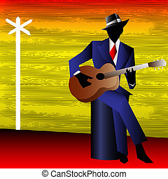 Blues Guitarist at the Crossroads, Vector Background for a...
