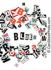 blues, inschrift