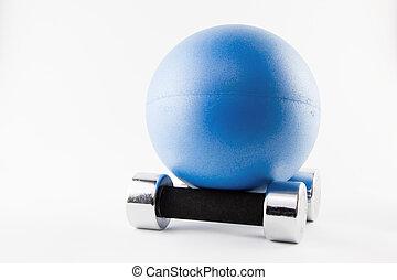 blues, palla idoneità, posizione, su, due, argento, pesi mano