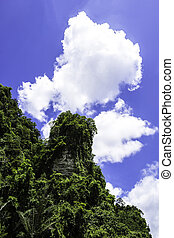Bluesky with green moutain - Bluesky and fufy clouds with ...