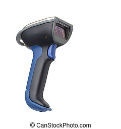 Bluetooth barcode and QR code scanner isolated over white...