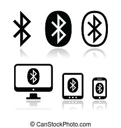 Bluetooth connection vector icons s - Connection via...