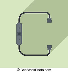 Bluetooth earbuds icon, flat style